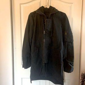 All Saints double zipper long hooded jacket